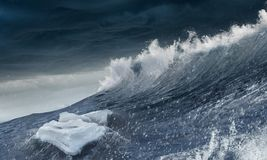 Ice floe on waves Royalty Free Stock Photography