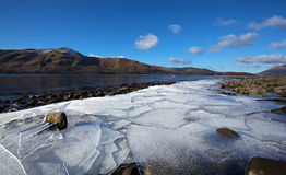 Ice floes on coastline Royalty Free Stock Image
