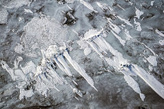 Ice floes covert with snow Stock Images
