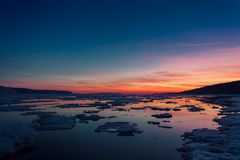 Ice floes floating on the water royalty free stock photography