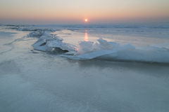 Ice floes on the frozen lake Royalty Free Stock Photos