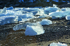Ice floes at glacier lagoon Jokulsarlon in the evening sun Stock Images