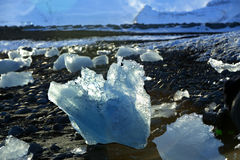 Ice floes at glacier lagoon Jokulsarlon in the evening sun Royalty Free Stock Photos