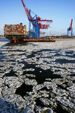 Ice Floes in Hamburg's Container Terminal Royalty Free Stock Photography