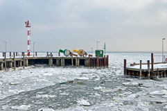 Ice floes in the harbor of List on Sylt Royalty Free Stock Photos