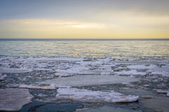Ice Floes on Lake Erie at Sunrise Royalty Free Stock Photos