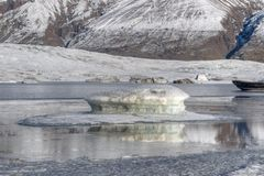 Ice floes in lake Stock Photo