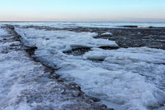 Ice floes. Outside was cold -15degress in Latvia, bolderaja breakwater Stock Images