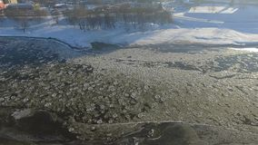 Ice floes over the river. Aerial view. Kaunas, Lithuania stock video