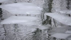 Ice floes on a river. On a cloudy winter day stock video footage