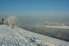 Ice floes on the river Elbe Royalty Free Stock Photos