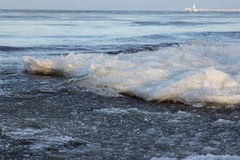 Ice floes in sea. Outside was cold -15degress in Latvia, bolderaja breakwater Stock Images