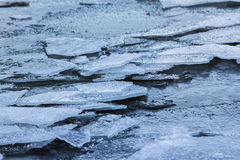 Ice floes in sea. Outside was cold -15degress in Latvia, bolderaja breakwater Royalty Free Stock Image