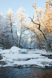 Ice floes and snow in the river Stock Photo