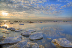Ice-floes under sunset Royalty Free Stock Images