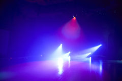 Ice floor with stage lights for ice dancing Royalty Free Stock Image