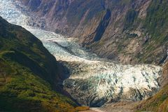 Ice-flow. Franz Josef ice-flow, South Alps in New Zealand Stock Image