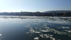 Ice flow on the Danube river stock video