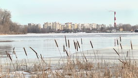 Ice flow on the river. On winter stock video footage