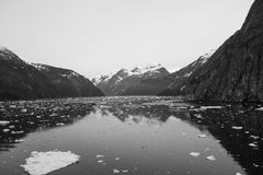 Ice Flowing in Alaskan Waterway BW Stock Image