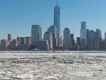 Ice Flows along the Hudson River Stock Image