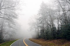 Ice Fog on a Mountain Road Stock Photos