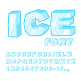 Ice font. Cold letters. Transparent blue alphabet. Frosty alphab Stock Image