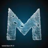 Ice Font of Letter M royalty free illustration