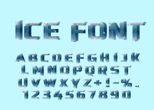 Ice font. Ice letters and numerical. vector illustration