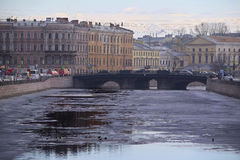 Ice on Fontanka river in St. Petersburg, Russia. Stock Images
