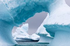 Ice Formation in Antarctica. Just beyond the Gerlache Straits is where this Ice Garden exists Stock Photo