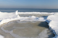 Ice formation. Ice formation at Baltic sea coast in winter Stock Photos