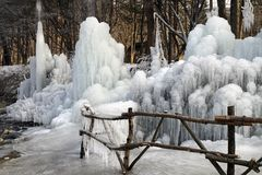 Ice formation from a fountain in Nami Island, Korea Royalty Free Stock Photos