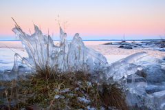Ice formation on lakeside Stock Image