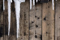 Ice formation on wooden wall. Cold concept stock photography