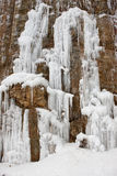 Ice formations on cliff. Stock Image
