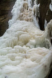 Ice formations on the frozen falls. Royalty Free Stock Image