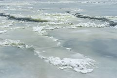 Ice formations on Ukrainian river Dnipro stock photos