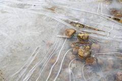 Lines Formed in Ice in Close Up of Pond with Rocks. Ice formed on surface of pond with rocks emerging from surface Stock Photos
