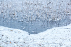 Ice Forming 2. Ice patterns forming on the water's surface royalty free stock photo