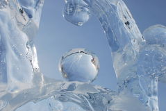 Ice forms. Part of melting ice figure in Raifa monastery (Russia, Kazan Royalty Free Stock Photo