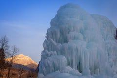 Ice fountain in Dolomites, Val di Fassa, Trentino, Italy Stock Image