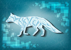 Ice fox on frozen background Stock Image