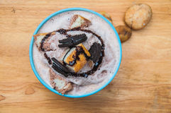 Ice frappe with Chocolate Flavored, cookies, bread and condensed Stock Image