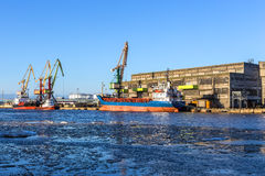 Ice-free port on the Baltic Sea Royalty Free Stock Images