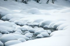Ice free snow-bound mountain river in winter Stock Image