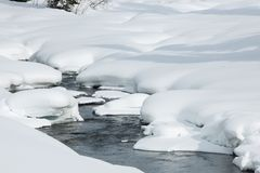 Ice free snow-bound mountain river in winter Stock Images