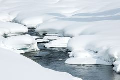 Ice free snow-bound mountain river in winter Royalty Free Stock Image