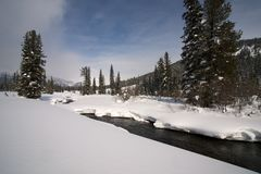 Ice free snow-bound mountain river in winter Royalty Free Stock Photos