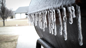 Ice by freezing rain. Freezing rain make a lot of ice on everywhere around the house Royalty Free Stock Image